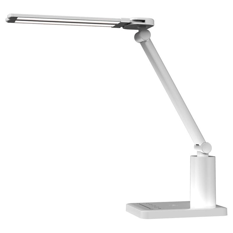 Lámpara LED de escritorio con doble cabeza, ultrafina, plegable, regulable, lámparas de mesa, cargador inalámbrico, cuidado de ojos, lámpara de noche, 3 modos de tiempo