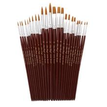 12 pièces/ensemble Nylon aquarelle pinceaux couleur rouge forme différente rond pointe Gouache peinture pinceau ensemble Art fournitures