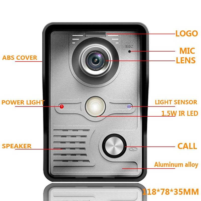 Mountainone 7'' LCD Wired Video Door Phone Visual Video Intercom Speakerphone Intercom System With Waterproof Outdoor IR Camera enlarge