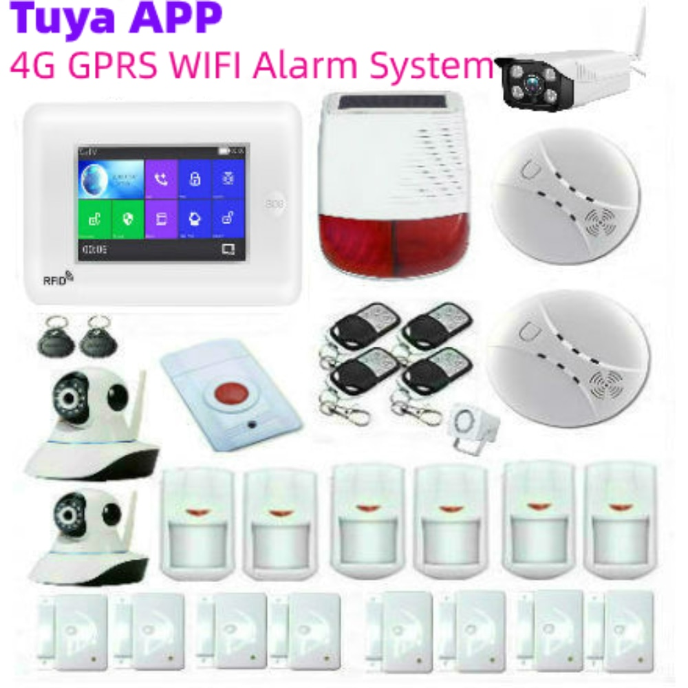 WIFI 3G 4G Alarm System Tuya App Control Home Security Motion Sensor Buglar Alarm 4.3Inch Full Touch Screen Panel Outdoor Camera enlarge