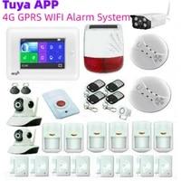 Systeme dalarme de securite avec capteur de mouvement  wi-fi  3G 4G  Tuya  controle via application  camera exterieure  panneau a ecran tactile 4 3