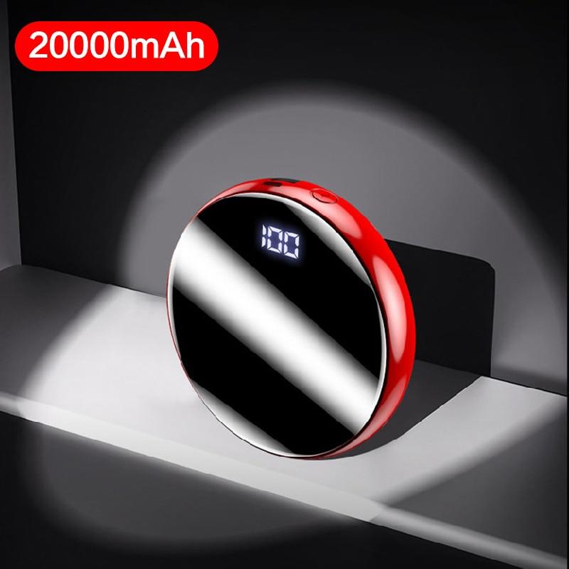 Banco de energía Mini redondo de 20000mah para iPhone Xiaomi Mi 9, Banco de energía de batería externa, cargador de teléfono de carga rápida, Banco de energía LED Digital