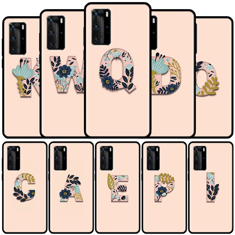 Shell For HUAWEI Mate 40 20 10 Pro Plus Lite RS Custom Initial Letter Case for Huawei P40 P30 P20 P1