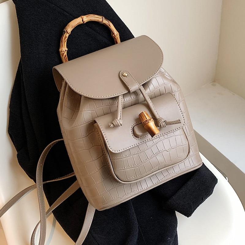 موضة التمساح طباعة حقيبة الظهر للسيدات لينة بولي Leather جلد السيدات حقيبة كتف متعددة الوظائف خمر مصمم صغير الإناث على ظهره