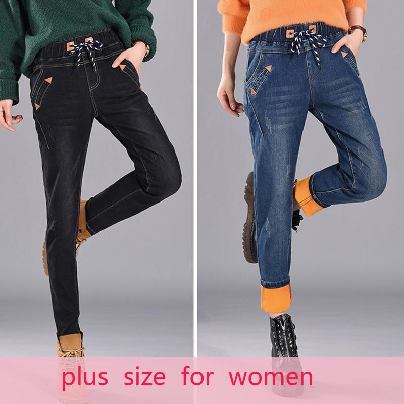 Повседневные зимние джинсы, Свободные теплые джинсы с высокой талией, женские узкие черные джинсы, женская одежда, джинсовые брюки, джинсы д...