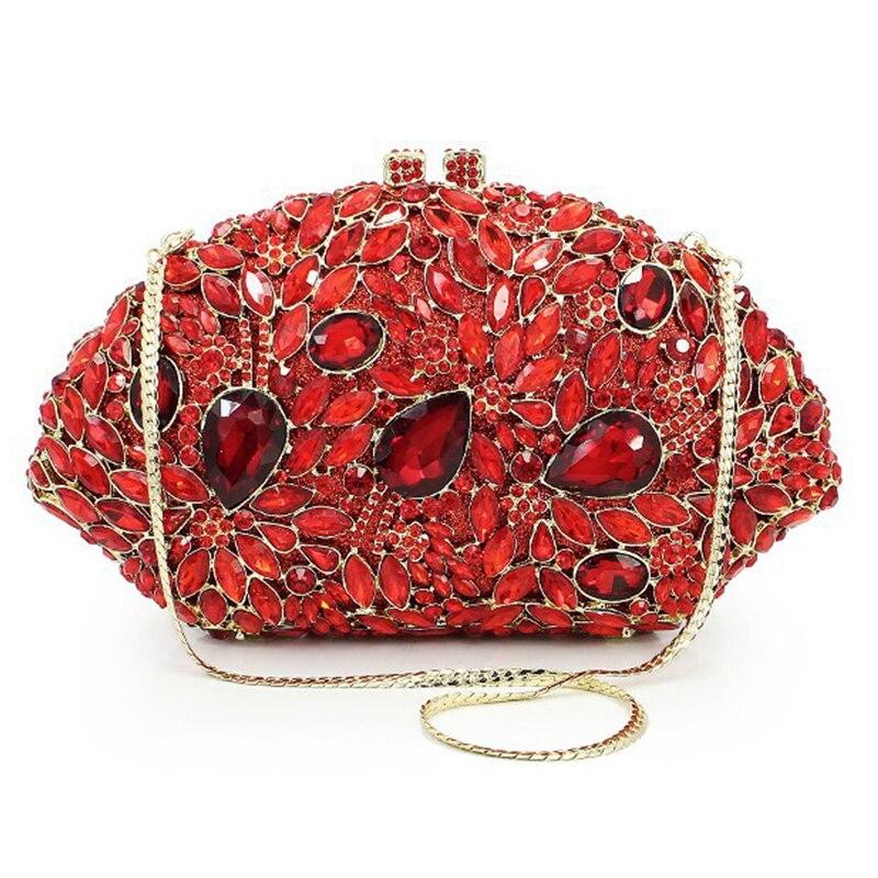 Xiyuan forma de concha vermelho strass casamento nupcial embreagem moda cristal noite bolsa senhoras corrente ouro metal bolsas