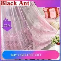 romatic pink sheer curtain for girls bedroom balcony princess window screen embroidery wedding partition tulle curtain jd98220