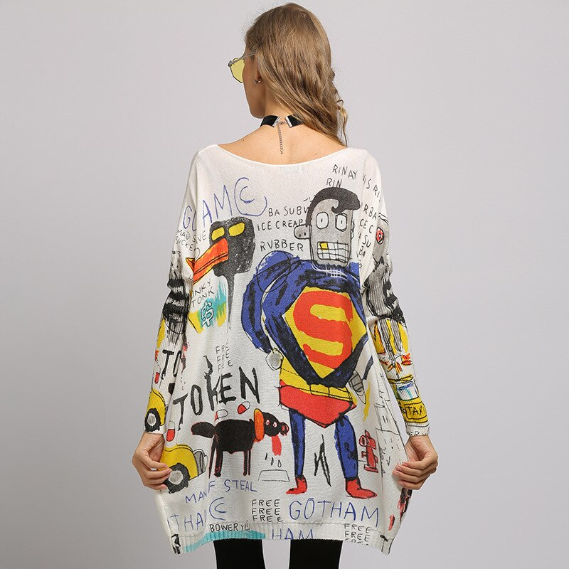 Elegant Cartoon Pattern Oversize Sweater Woman Letter Printing Loose Long Jumper Pullovers Women Slash Neck Knit Tops Shirts enlarge