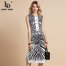 LD LINDA DELLA 2020 Fashion Runway Summer Dress Womens Sleeveless zebra-stripe Print Side split Elegant Midi Vintage Dress
