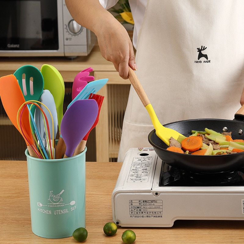 Набор кухонной утвари из 12 предметов, набор кухонной посуды из пищевого силикона, ложка-шпатель, антипригарный кухонный инструмент с коробк...