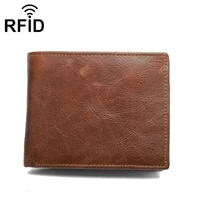 leather wallet rfid antimagnetic multi card mens leather wallet multi function flip two fold short leather bag