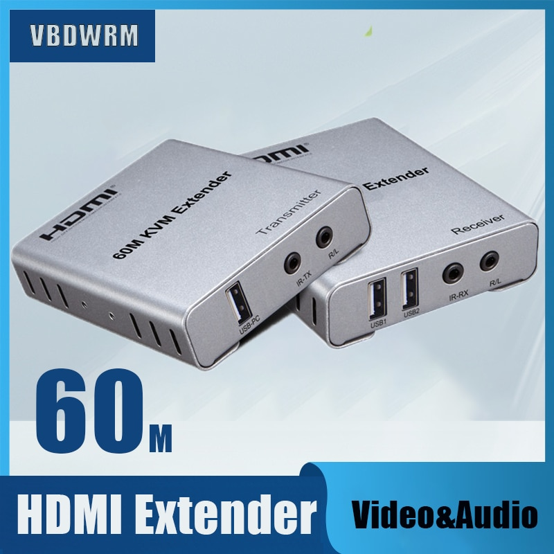 60M HDMI KVM Extender Transmit with HDMI KVM Switch Audio Output USB Mouse & Keyboard Extension over cat5e cat6 Ethernet Cable usb kvm extender lossless and no latency hdmi transmitter and receiver over single cat5e 6 utp ethernet cable hdmi kvm extender