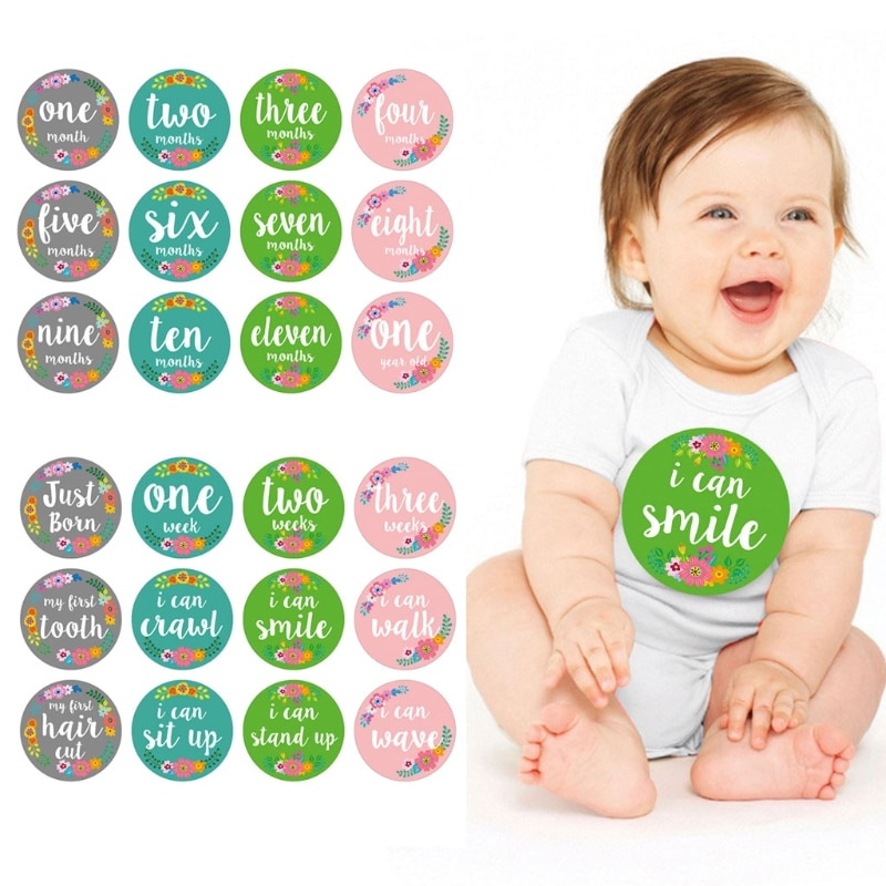 12 Pcs Baby Monthly Stickers Baby First Year Month Age Growth Milestones Floral Stickers Unisex,1 to 12 Month недорого