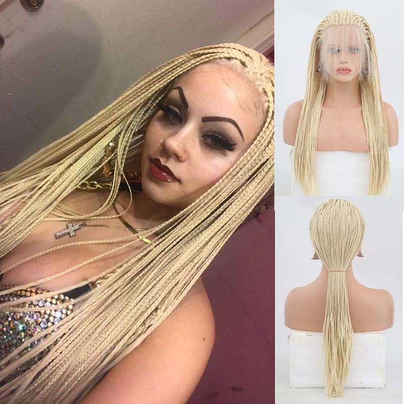 AIMEYA Long Box Micro Blonde Braids Lace Wig for Women High Temperature Hair Braided Synthetic Lace Front Wigs Cosplay Nice