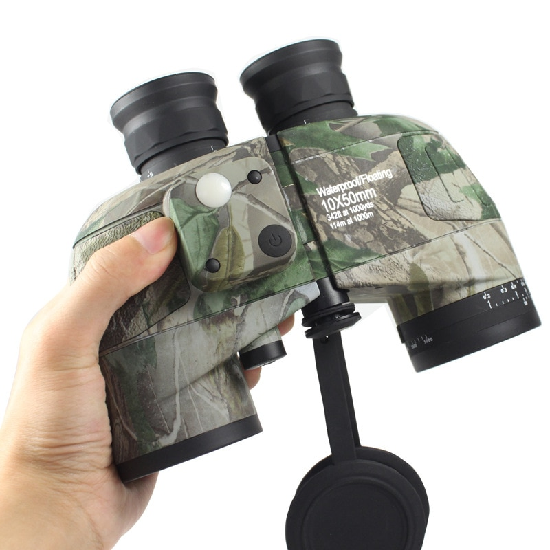 NEW 10X50 Military Binoculars Compass Ranging Azimuth Waterproof Outdoor Camping Hunting Low Light Level Night Vision Telescope