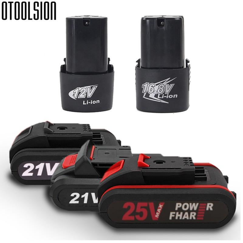 25v 21v 16,8 v 12v taladro eléctrico batería de litio recargable batería de litio destornillador inalámbrico herramienta eléctrica accesorios