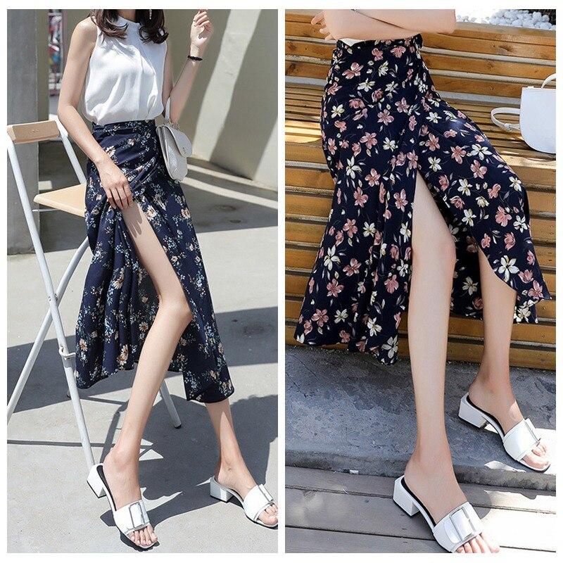 Faldas largas con estampado Vintage para mujer, falda a media pierna de cintura alta, pajarita, falda verde sexi de verano para playa