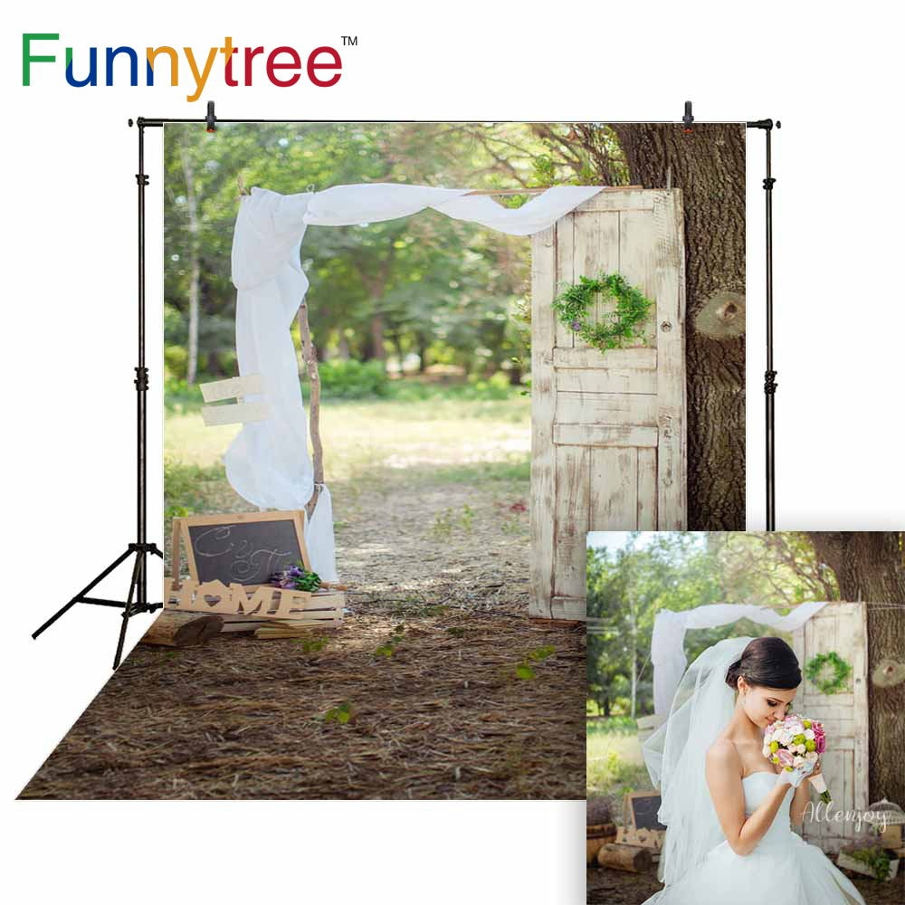Funnytree rustic wedding backgrounds for photo studio vintage white door flower tree nature photophone photocall