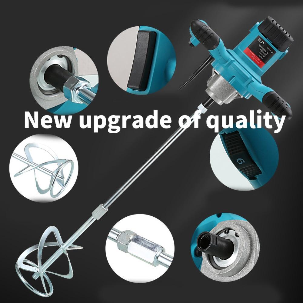 Industrial Grade Mixer 2100W 6 Gear Adjustable Speed Paint Cement Plaster Mortar Coating Mixer Putty Powder Mixing Machine enlarge