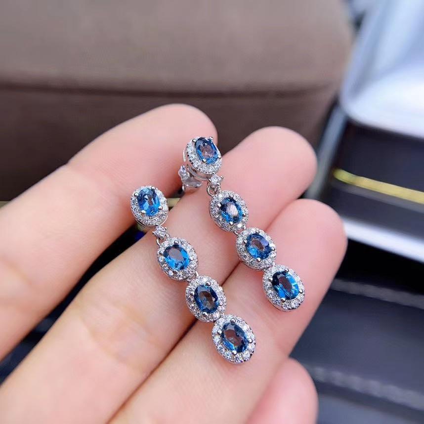 أقراط بمشبك بلون طبيعي جيد ، مجوهرات من الفضة الإسترليني عيار 925 ، أقراط من الأحجار الكريمة الطبيعية ، تصميم كلاسيكي