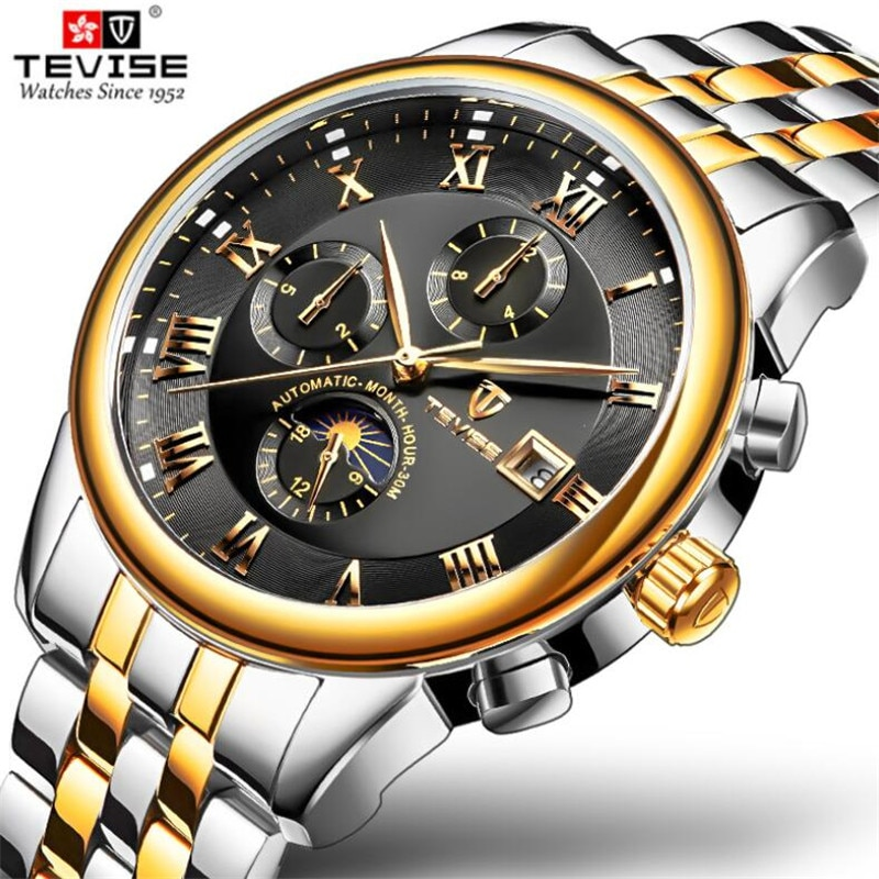 NEW Men Automatic Mechanical Fashion Top Brand Sport Watches Multifunction Moon Phase Stainless Stee