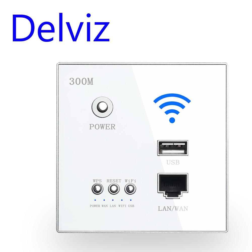 Delviz Wireless WiFi Socket Rj45, AP Relay Smart usb socket, Crystal glass panel, 220V Power, 300Mbps Embedded Wall WIFI Router
