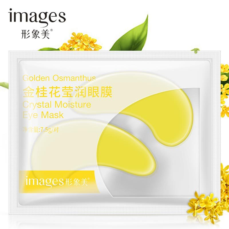 1 Uds osmanto dorado cristal colágeno oro máscara de ojos antienvejecimiento ojeras belleza acné parches para el cuidado de la piel de los ojos coreano Cosmet