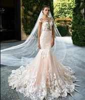 champagne mermaid wedding dress 2020 backless robe de mariee vintage top floral applique cap sleeves bridal dress formal long