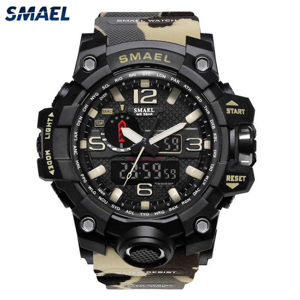 SMAEL 2021 Fashion Men's Sports Watches Digital Watch Men Alarm Clock Beige Camouflage LED Quartz Cl