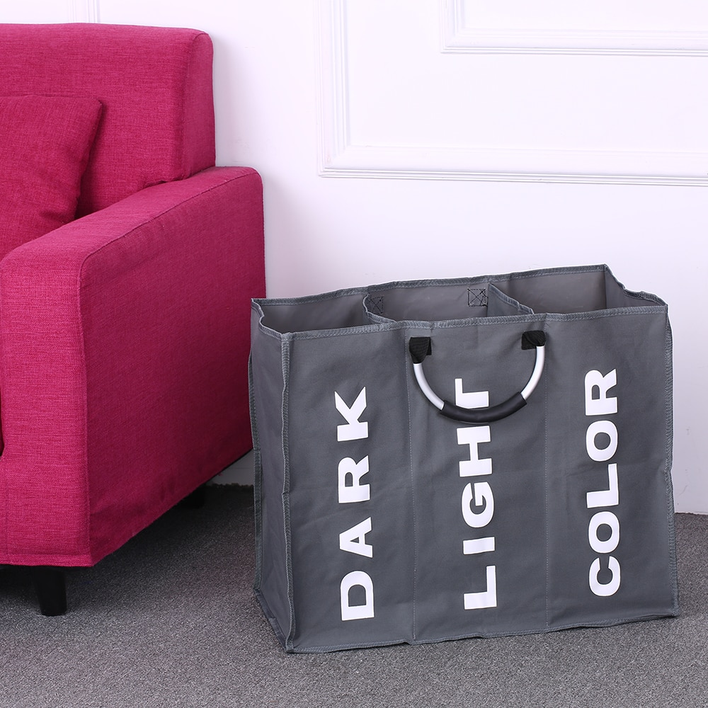 Laundry Bag Foldable Basket Large Dirty Hamper Sorter Oxford Cloth Clothes with Aluminum Handle