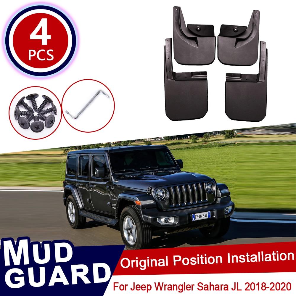 4pcs for Jeep Wrangler Sahara JL 2018 2019 2020 Car Mud Flaps Front Rear Mudguard Splash Guards Fender Mudflaps Flap Accessories