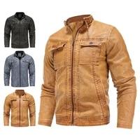 mens casual autumn winter faux leather jacket men motorcycle biker pu leather jackets coats stand collar warm fleece outwear