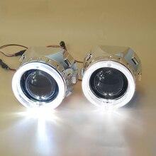 LHD 2.5 بوصة Bixenon العارض عدة ل H1 H4 H7 سيارة ضوء علوي زينون إتش آي دي 2 العارض عدسة 2 قناع كفن 2 عيون الملاك