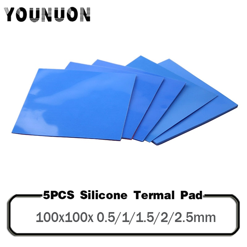 5Pcs 100x100mm 0.5mm 1mm 1.5mm 2mm 2.5mm Thickness Thermal Pad CPU Heatsink Cooling Conductive Silicone Pad