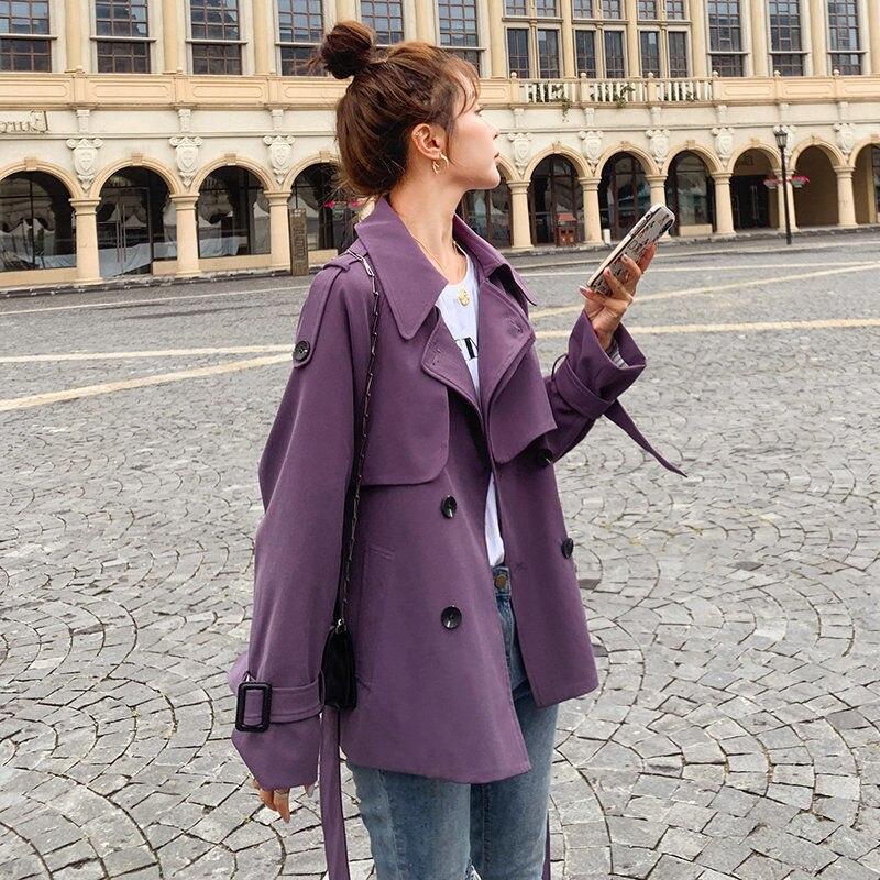 Женский короткий тренчкот, модная ветровка фиолетового и цвета хаки в Корейском стиле, свободная куртка для инструментов, весна-осень 2021