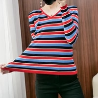 harteen 2021 autumn winter striped pullovers sweater women long sleeve top v neck slim sweaters mother fashion ladies clothing