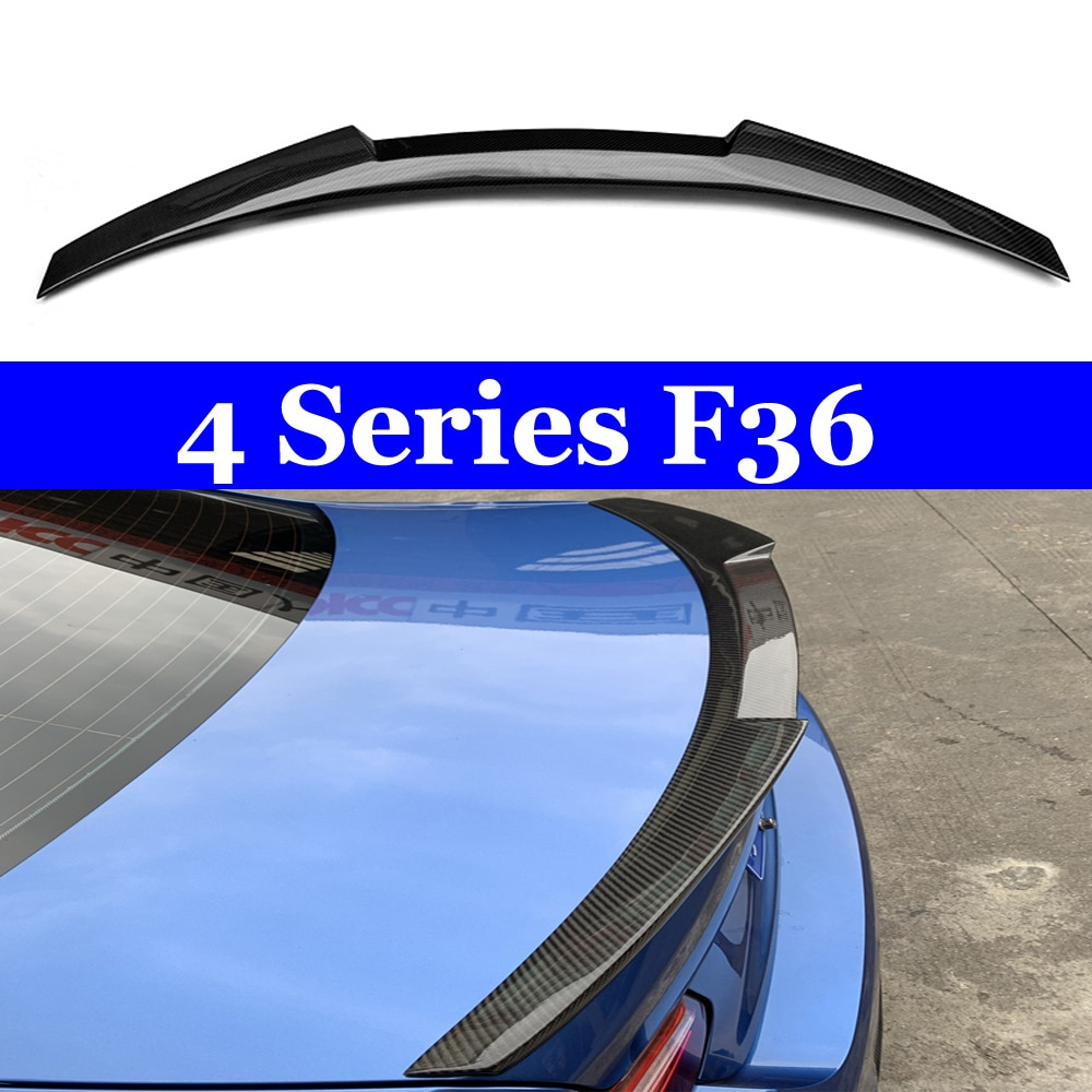 for bmw e90 spoiler trunk wing tail m4 style frp black 3 series 318i 320i 328i 335d 330i 350i 340i tail trunk spoiler wing 05 11 Carbon Fiber Rear Trunk Wings M4 Spoiler for BMW 4 Series F36 420i 428i 435i Gran Coupe 4-door 2013 + Gloss Black Spoiler Wing