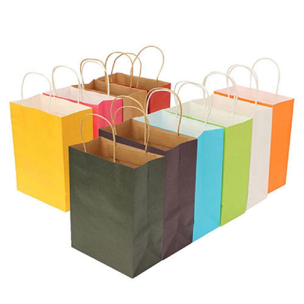 1pc New Recyclable 10 Colors High Quality Kraft Paper Bag With Handles Party Gift Tote Bags Shopping Environment bags