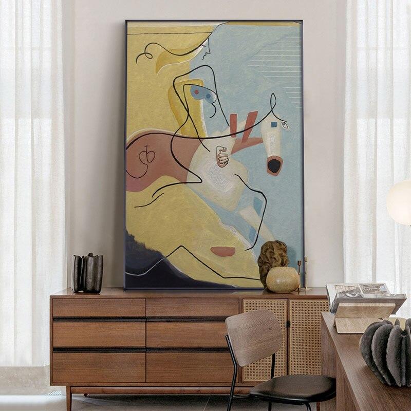 Picasso Art abstrait dessin au trait affiche moderne minimaliste mur Art toile impression célèbre peinture nordique maison décorative photos
