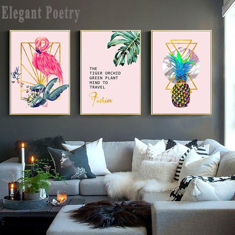 Póster nórdico de flamenco, flor, piña, hoja, arte para pared, lienzo, estampado rosa, pintura escandinava, cuadro decorativo para sala de estar