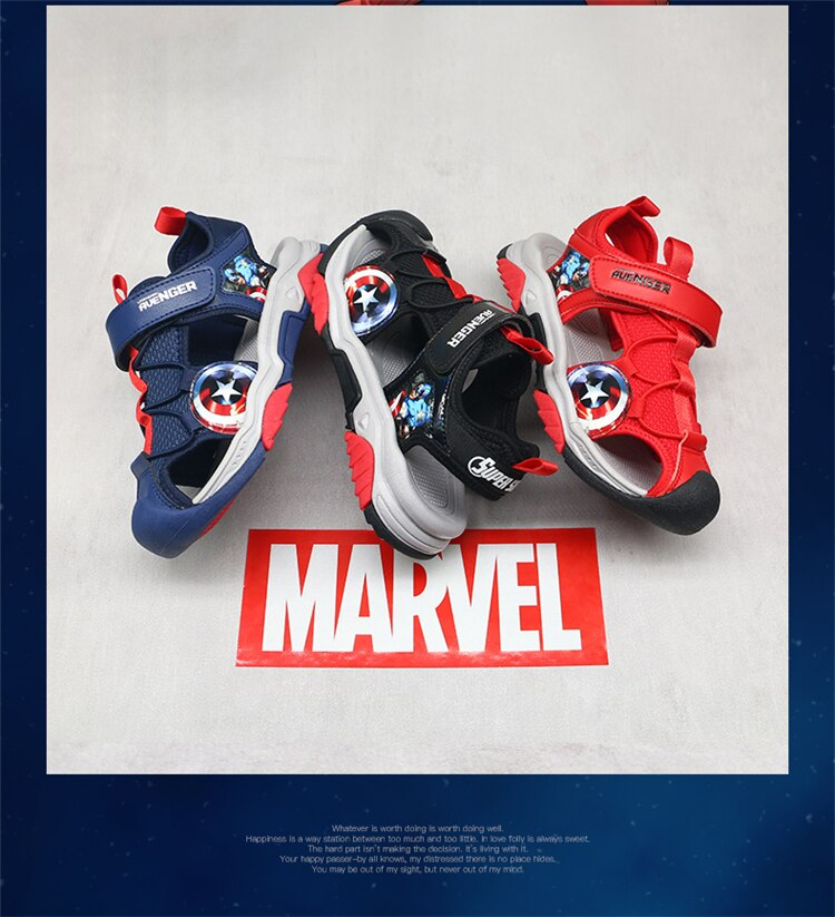 Limited Edition Marvel Heroes Avengers Captain America Children's Sandals Boys Soft Sole Non-slip Soft Sole Baby Beach Shoes enlarge