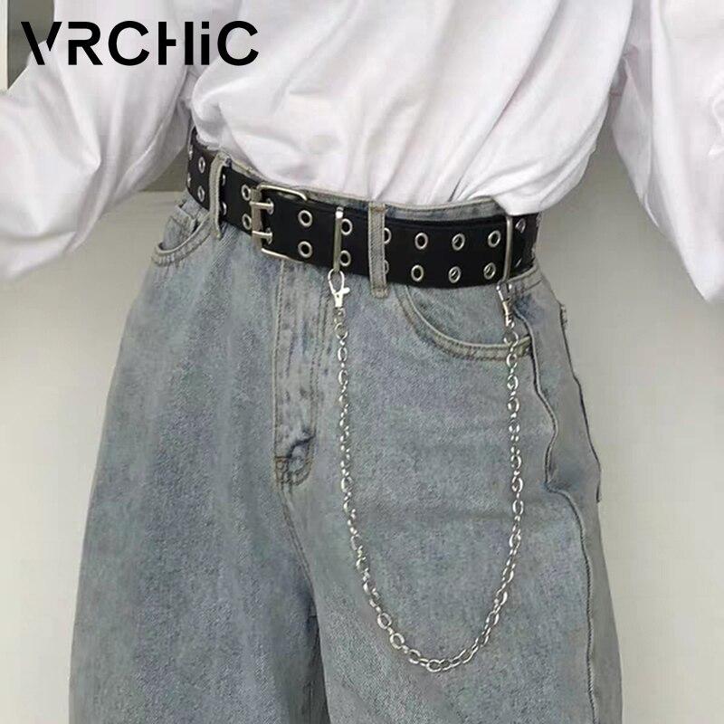 VRCHIC moda mujer Punk cinturón de cadena ajustable cinturón con hebilla Jeans cadena cinturones decorativos mujer 2020 nuevo ceinture