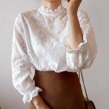 Japan Koreaanse Pure White Blouse Bloemen Geborduurd Overhemd Vrouwelijke 2020 Zomer Kant Stand Kraag Lange Mouwen Wit Shirt Vrouwen