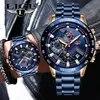 LIGE – montre-bracelet pour hommes marque de luxe chronographe tout en acier étanche à Quartz