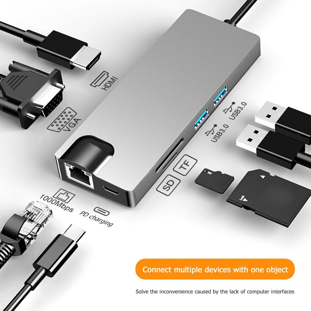Estación de Dock USB tipo C HDMI para ordenador portátil HW-TC12 Hub USB tipo C a Multi USB 3,0 HDMI VGA RJ45 PD adaptador divisor para PC