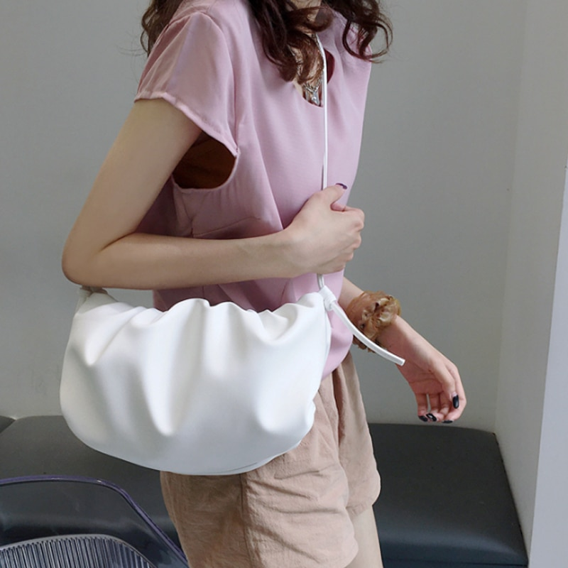 Luxury PU Leather Shoulder Underarm Bag For Women 2020 Summer Popular Pleated Chain Messenger Fairy Cloud Bag White