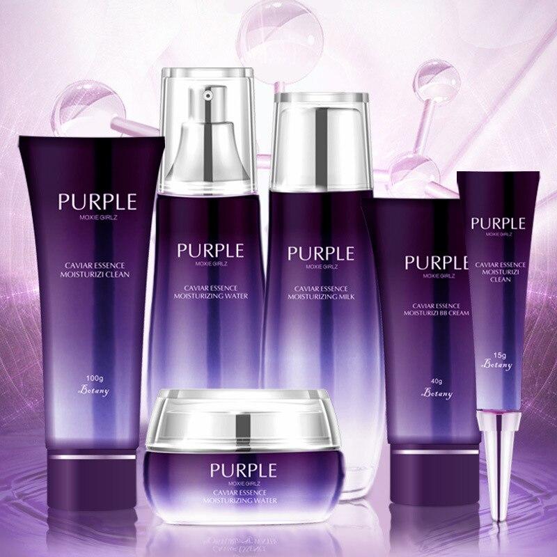 Nicotinamide purple perilla essence whitening six-piece set of hydrating and moisturizing skin care products set