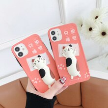 Sleepy Cat 3D Silicone Case for iPhone 12 Pro Max 11 X XS Cartoon Fitted Back Cover Shell Phone Acce
