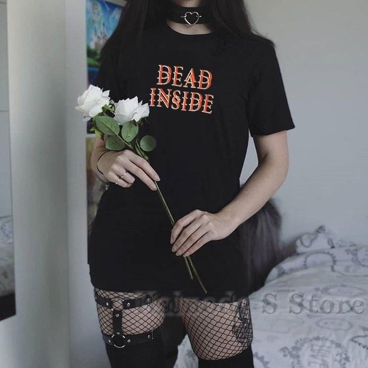 100% algodón hombres camiseta mujer Camiseta 100% algodón Mujer muerto dentro camiseta Hipster Grunge Estilo negro Tee ropa gótica