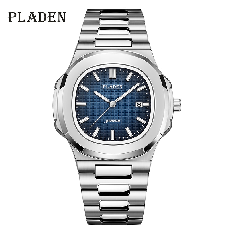 PLADEN Men's Watches Luxury Brand High Quality Steel Strap Clock For Male Fashion Waterproof Designe